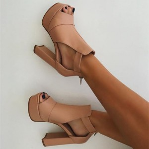 Blush Peep Toe Chunky Heel Boots Platform Summer Zipper Ankle Booties