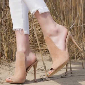 Blush Peep Toe Stiletto Heel Mule Suede High Heels for Women