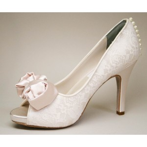 Blush Peep Toe Wedding Shoes Lace Stiletto Heels Pumps with Bow