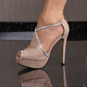 Blush Platform Heels Key Hole Rhinestones Stiletto Heel Pumps