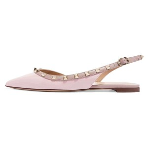 Pink Pointy Toe Rockstud Slingback Shoes Comfortable Flats