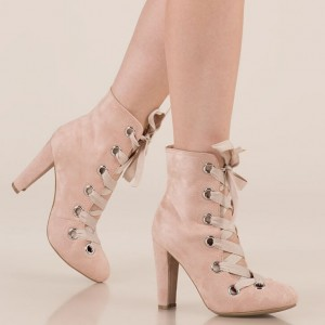 Blush Round Toe Lace up Chunky Heels Ankle Booties