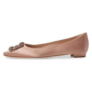 Blush Satin Rhinestone Comfortable Flats