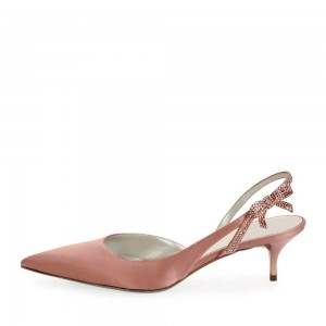 Blush Satin Rhinestone Kitten Heel Slingback Pumps