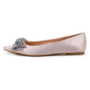 Blush Satin Rhinestones Pointy Toe Comfortable Flats