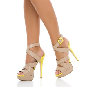 Blush Stiletto Heel Cross Strap Buckle Slingback Platform Sandals