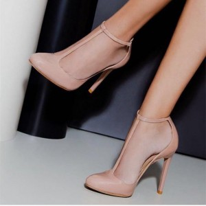 Blush Stiletto Heels Almond Toe T Strap Pumps