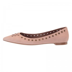 Blush Suede Studs Comfortable Flats Pointed Toe Flats