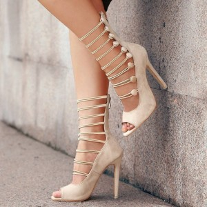 Beige Suede Gladiator Heels Buttons Hollow out Peep Toe Shoes