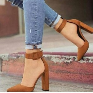 Tan Ankle Strap Heels Office Shoes Pointed Toe Chunky Heel Pumps