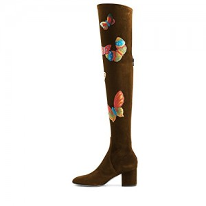 Brown Long Boots Over-the-knee Suede Butterflies Print Chunky Heels