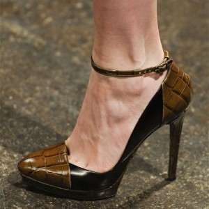 Brown and Black Closed Toe Ankle Strap Heels Stilettos Platform Pumps