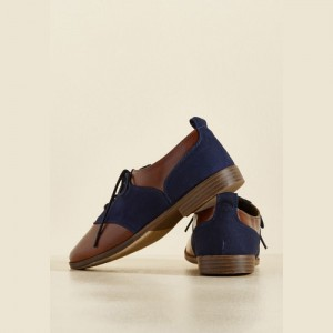 Brown and Navy Women's Oxfords Round Toe Flats Lace up Vintage Shoes