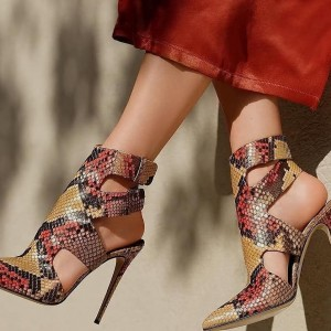 Brown and Red Summer Boots Python Stiletto Heels Ankle Strap Sandals