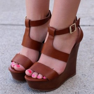 Tan Wedge Sandals Open Toe Platform T Strap Sandals