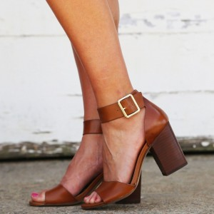 Brown Block Heel Buckle Ankle Strap Sandals