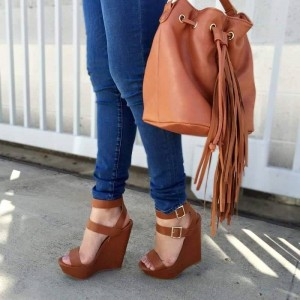 Brown Buckles Platform Wedge Heels Sandals
