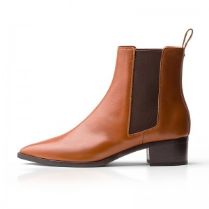 Brown Chelsea Boots Block Heel Ankle Boots