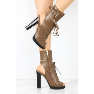 Brown Chunky Heel Boots Vintage Lace Up Peep Toe Platform Ankle Boots