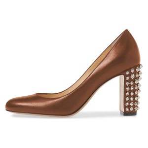 Brown Chunky Heels Pumps with Studs