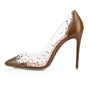 Brown Clear Heels Rhinestones Stiletto Heel Pumps