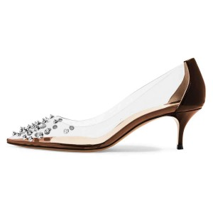 Brown Clear Heels Rivets Kitten Heel Pumps