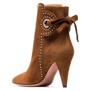 Brown Cone Heels Suede Back Lace up Ankle Booties By FSJ