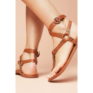 Brown Gladiator Sandals Flats Studs Sandals