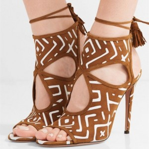 Brown Hollow out Stiletto Heels Slingback Sandals with Tassels