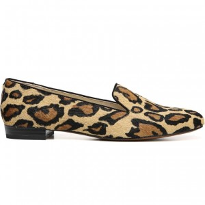 Brown Horsehair Leopard Print Loafers for Women