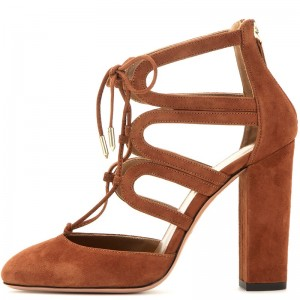 Brown Lace Up Summer Boots Chunky Heel Almond Toe Ankle Boots