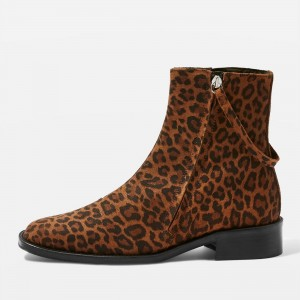 Brown Leopard Print Boots Flat Ankle Boots with Strap