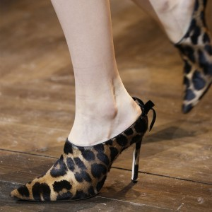Brown Leopard Print Heels Pointy Toe Stiletto Heels Mules