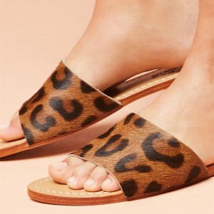 Tan Leopard Women's Slide Sandals Open Toe Summer Flat Slides Shoes
