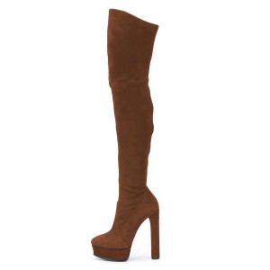 Brown Long Boots Suede Thigh-high Platform Boots for Women