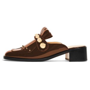 Brown Mirror Leather Fringe Studs Loafer Mules