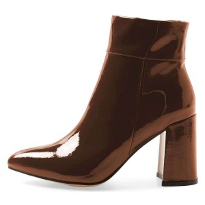 Brown Patent Leather Chunky Heel Boots Ankle Boots