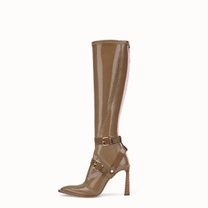Brown Patent Leather Fashion Boots Chunky Heel Boots
