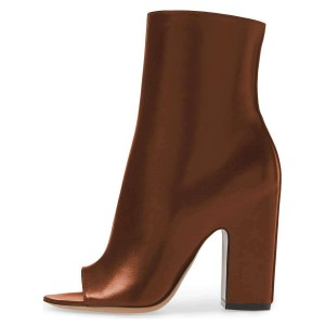 Brown Peep Toe Booties Chunky Heel Ankle Boots