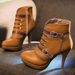 Tan Platform Boots Round Toe Ankle Booties with Buckles US Size 3-15