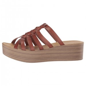 Tan Wedges Platform Women's Slide Sandals