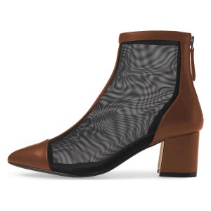 Brown Pointy Toe Nets Chunky Heel Ankle Booties