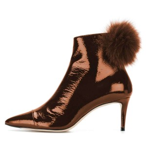 Brown Pointy Toe Pom Pom Stiletto Boots Ankle Booties