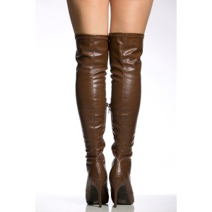 Dark Brown Long Boots Stiletto Heels Lace up Over-the-knee Boots