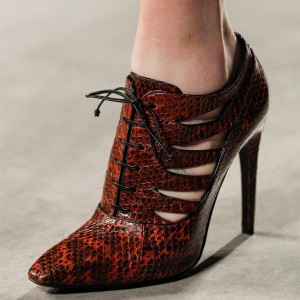 Snakeskin Booties Trendy Lace up Stiletto Heel Fashion Ankle Boots