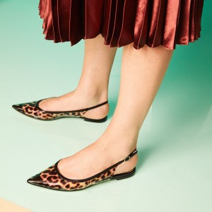 Brown Slingback Leopard Print Shoes Pointed Toe Flats