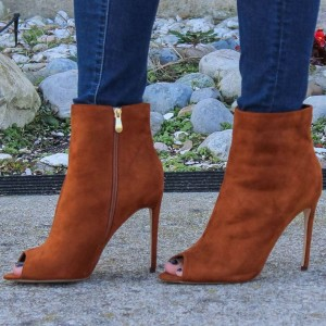 Tan Boots Suede Stiletto Boots Peep Toe Ankle Boots for Women
