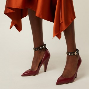 Burgundy Studs Cone Heel Ankle Strap Pumps