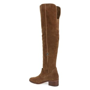 Brown Suede  Block Heels Over-the-knee Long Boots with Zipper
