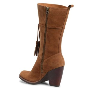 Brown Suede Boots Tassel Chunky Heel Mid Calf Boots
